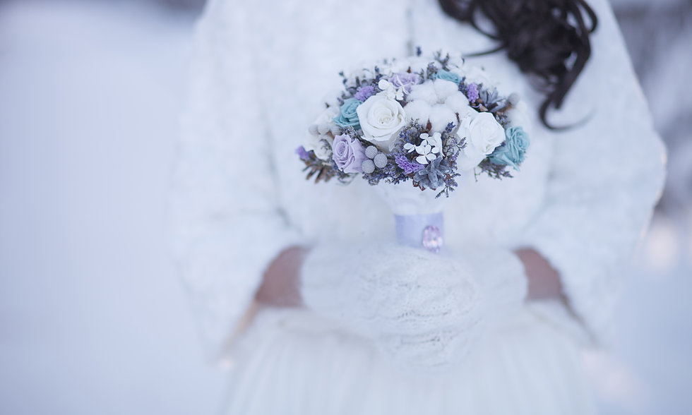 bride in winter wedding scene